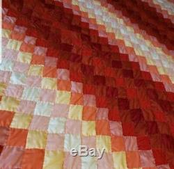 Quality Handmade Handquilted King Queen Quilt vtg Sunset red orange yellow