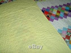 Queen Amish Hand Made Patchwork Garden Path Quilt with Vintage Prints 87x107