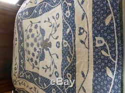 Queen Patchwork Quilt Cotton Eagle Floral Hand Sewn Vintage Handmade 80x84
