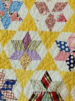 Quilt Calico Gingham Floral Feedsack Handmade Patchwork Vintage 80 x 68 Q26
