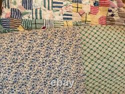 Quilt Gingham Calico Floral Feed Sack Hand Made Patchwork Vintage 69 x 85 KQ1