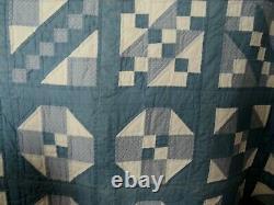 Quilt Handmade Hand/Machine Stitched Vintage Blue/Beige Large 182 x 118 Bed