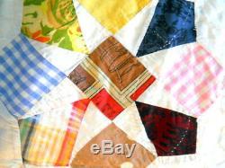 Quilt Handmade Vintage 50- 60's Hand Quilted Machine Stitched Folk Art Feel Kite