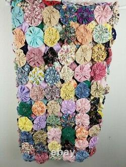 Quilt Handmade Vintage Yo Yo Colorful Floral 54x100
