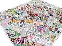 Quilt King Patchwork White Indian Bed cover Handmade India Vintage Patches Q4