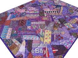 Quilt Patchwork Purple King Handmade Bedspread Patchwork Bed cover India Vintage