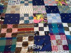 Quilt Square Patches Pattern Vintage Hand Sewen 74 x 53 Handmade