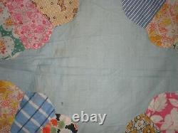 Quilt Top Friendship Ring Dresden Applique Plates Vintage Cotton Petal Border