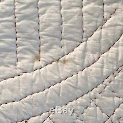 Quilt VTG Handmade Pink Roses Yellow Rose Buds Stems Pink Scallop Edge 75½ x 86