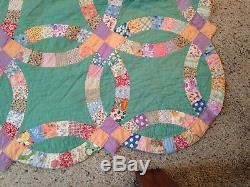 Quilt hand made vintage size 7' X 6