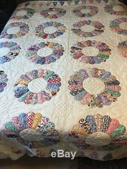 Quilted Queen Comfortor Cotton Patchwork 91x75 Handmade Vintage Item