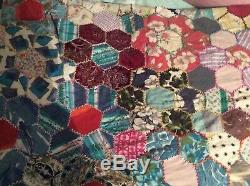 REDUCED VINTAGE HANDMADE LARGE PATCHWORK QUILT / THROW 88 x 100