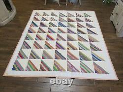 Rare Vintage Handmade Reversible Cotton Patchwork Quilt 76 x 84 Twin