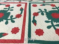 Red Green! C 1890-1900 Rare PA Whig Rose APPLIQUE Quilt Antique Framed 4 Block