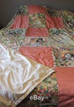 Rose/Pink Hand Tied Vintage Full/Queen Quilt 1980's Cat Print