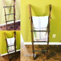 Rustic Industrial Pipe and Wood Blanket Ladder Wood Quilt Ladder Wall Ladder