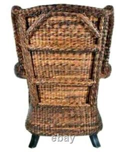Seagrass Chair with Rattan Wicker Wingback Arm Chair Antique Vintage Styling