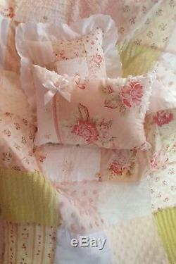 Seaside Vintage Rose Chenille Shabby Baby Quilt Chic Crib Bedding Gift Set