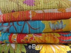 Set of 10 Handmade Vintage Kantha Quilt, Handmade Reversible Antique Gudri Throw
