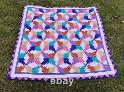 Signed Amish Style Antique Quilt Vintage Patchwork Hand Made& Sewn 82 X 82