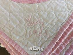 Signed Antique Vintage 1925 Patchwork Pink / White Quilt Handmade 86 x 86 Inches