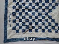 Signed Curtis Dated 1880 Antique Indigo Blue & White Irish Chain QUILT TOP 86x82