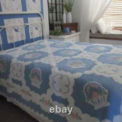 Stunning! Marie Websters French Baskets Antique c1930s Applique QUILT