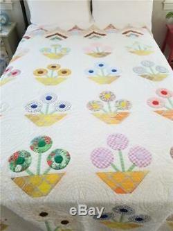 Superb Vintage Quilt Applique Potted Flowers Handmade