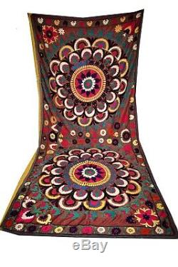 Suzani Hand Embroidered Quilt Twin Bedding Vintage Blanket Bohemian Throw