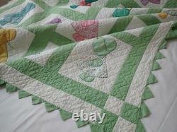 Sweet Vintage 30s Green Sunbonnet Sue & Overall Sam Applique QUILT 80x58