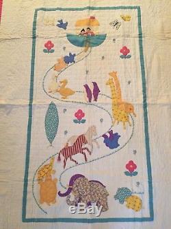 The BEST! Antique 1930s Noah's Ark Crib Quilt Vintage Folk Art Hand Made