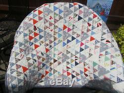 True Vintage Handmade Multi Color Calico Cotton Triangles Full Quilt 79 x 72
