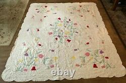 Tulip spring Bouquet handmade quilt applique 74 x 88 vintage twin size floral