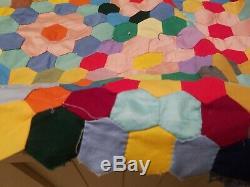 Unfinished Grandma's Flower Garden Vintage Handmade Quilt from estate sale