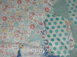 Unfinished Vintage Quilt Top Multicolored Patterned Feedsack With Border 80 X 72
