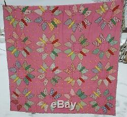 Unique Vintage 1930's Applique Pink Butterfly Flowers Hand Made Quilt 68 x 86