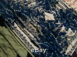 Unusual Crazy Quilt 54 x 48 Handmade Stitched Textile Vintage Antique Fabrics