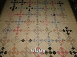 VINTAGE ANTIQUE Patchwork Quilt Handmade 74 x 70 Inches