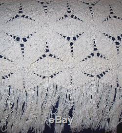 VINTAGE ANTIQUE USA CROCHETED QUILT-SPREAD Handmade- Heavy FRINGED Star Pattern