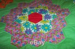 VINTAGE Colorful HANDMADE QUILT GRANDMOTHER'S FLOWER GARDEN Green with FeedSack