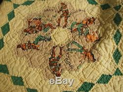 VINTAGE HAND MADE QUILT 84 X 72 DESIGN MATCHED UP 2 SIDED DIAMONDS pp