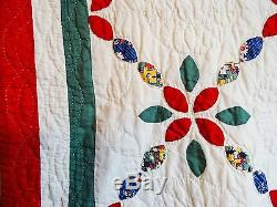 VINTAGE HAND MADE QUILT Joseph's Chain / Fabrics reminescent of 1845-1865 era