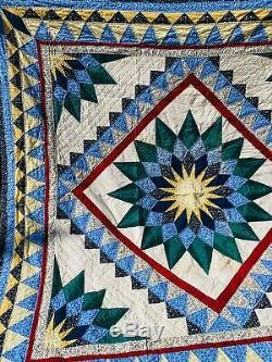VINTAGE HAND SEWN/HANDMADE PATCHWORK QUILT STARBURST DESIGN 85 x 84 FARMHOUSE