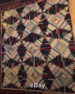 VINTAGE HANDMADE Hand Quilted Lovely 1930s 1940s 72 X 64 Inch Wool Grey Pink