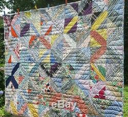 VINTAGE HANDMADE QUILT 1960s 2-SIDED KITTY CAT PATTERN & CRAZY PATCHWORK FABRIC