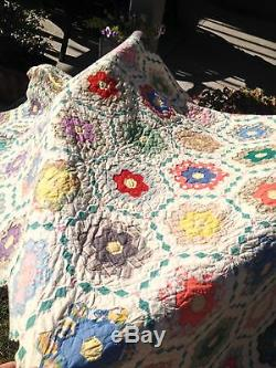 VINTAGE HANDMADE QUILT hand stitched red pink yellow blue 96 x 66