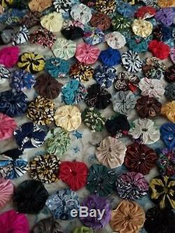 VINTAGE Hand Made Silk Multicolor Yo-Yo Patchwork Quilt Bedspread