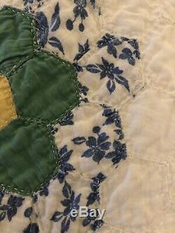 VINTAGE QUILT Grandmas Garden Hand Made Hand Quilted 5 Stars 79 X 81