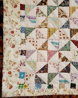 VINTAGE QUILT Virginia Handmade PATCHWORK TRIANGLE PINWHEEL 92 X 79 w SHAMS