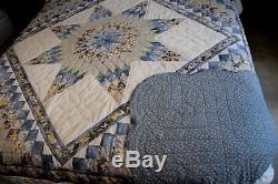 VINTAGEAMISH QUILT HANDMADE PATCHWORK LANCASTER PA. STARS IN COMMON 96x106
